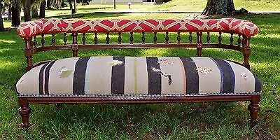 Antique Sofa / Settee with Wood Frame and New Upholstery – Refurbished on Castor