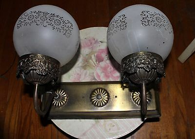 Antique Lighting Wall Mount Double Glass Globe Fixture Frost Glass w Flowers
