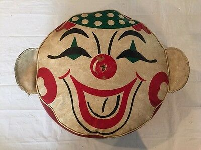 "Vintage Carnival Style Pillow Cushion with Clown Face 16"" Diameter"