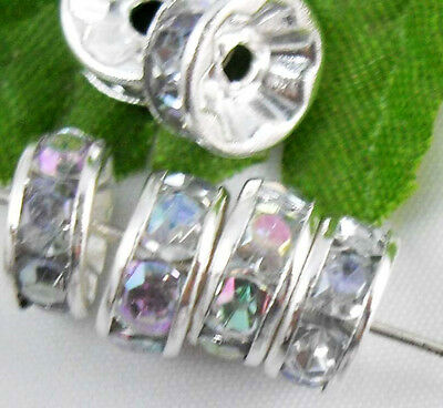 100pcs Silver Plated Crystal Spacer Beads 8mm AB