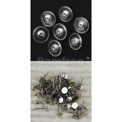 100x Earring Stud Posts 6mm flat Pads backs Hypoallergenic Surgical silver