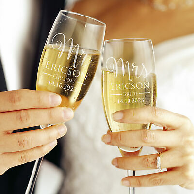 Personalised Engraved Mr & Mrs or Bride & Groom Champagne Glasses with Gift Box