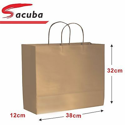 40x LARGE Bulk Brown Kraft Wide Paper Carry Bags Shopping Retail Party Wedding