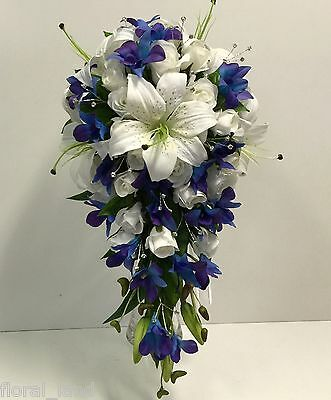 Silk Wedding Bouquet Latex Blue Purple Orchid Teardrop White Lily Roses Flowers