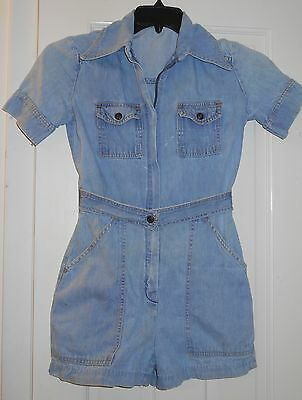 Vtg 70's Denim Jumpsuit Romper Front Zip Boho Denim Jeans Short Shorts~5/6~SALE!