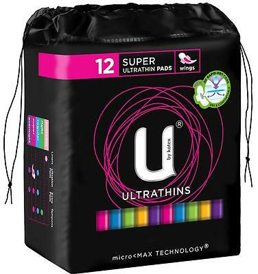 U By Kotex Pads Super Ultrathin With Wings X 12