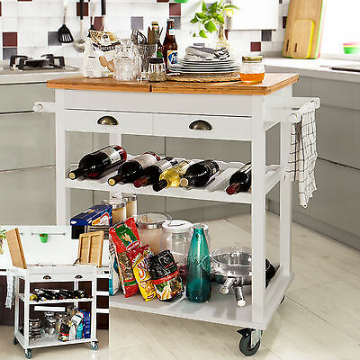 SoBuy® Kitchen Trolley Cart Store Rack Bamboo Top, FKW08-WN, White+Nature, UK