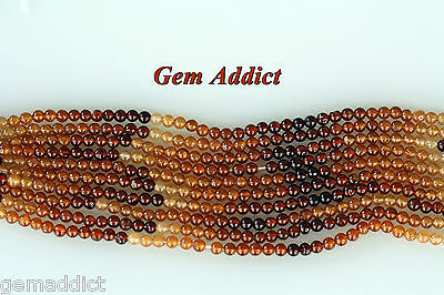 "Natural High Quality Round 3.5mm Shaded Hessonite Garnets 14"" Strands"