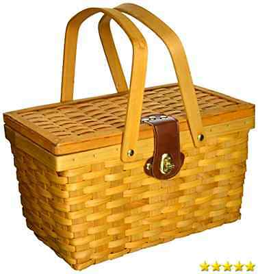 VintiquewiseTM QI003081 Gingham Lined Picnic Basket with Folding Handles New
