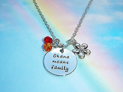 Ohana Means Family Pendant Flower Charms Necklace Lilo And Stitch