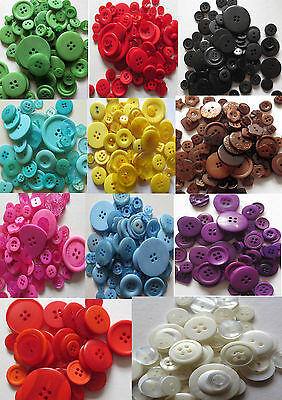 Mixed Buttons Assorted Shapes & Sizes - Various Colours - 100G