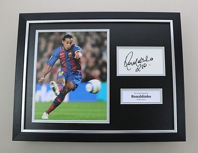 Ronaldinho Signed Photo Framed 16x12 Barcelona Autograph Memorabilia Display COA