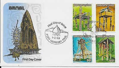 Papua New Guinea 1985 Ceremonial Structures FDC