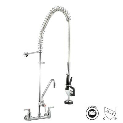 "Swivel Spout Pre-Rinse Kitchen Faucet 12"" Addon Pull Down Sprayer Commercial"