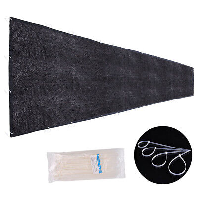 Flat Privacy Fence Screen Mesh 25x4' Black For 4' Tall Fencing Fabric Windscreen