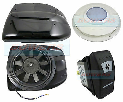 12V Low Profile Powered Motorised Roof Fan Vent Extractor Motorhome + Led Light