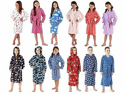Kids Boys Girls Fleece Dressing Gown Bath Robe Wrap House Coat Jacket 2-13 Years
