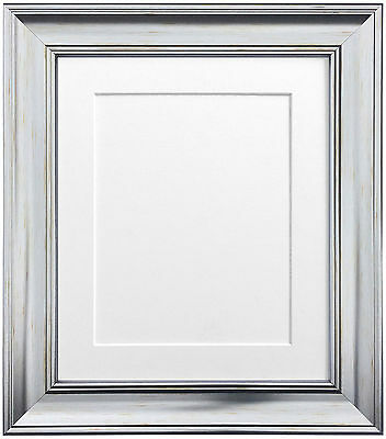 Scandi Silver Picture Photo Frames with Black White Ivory Pink or Blue Mounts