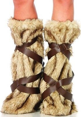 Adult Warrior Faux Fur Leg Warmers Costume Accessory fnt