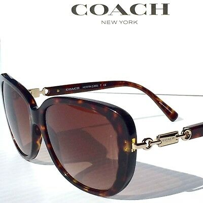 NEW* Coach Designer L953 TORTOISE GOLD w Bronze Women's Sunglass HC8164 $240