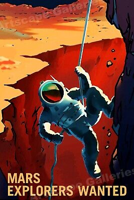 """Mars Explorers Wanted"" Astronaut Retro Outer Space Travel Poster - 24x36"