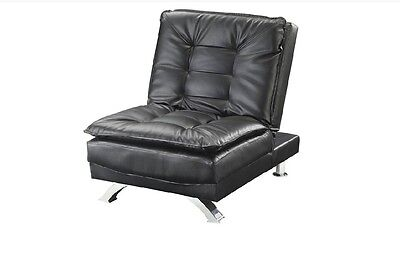 Erickson Futon Style Chair Bed Black Finish Leatherette by Coaster 508063