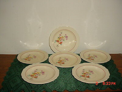 """6-Piece W.s.george Lido Canarytone 6 1/8"""" Saucers/cream-Red-Floral/usa/vintage!"""