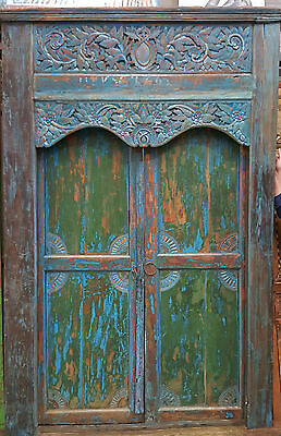 Balinese Original Antique Large Blue Green Timber Hand Carved Bali Door & Frame