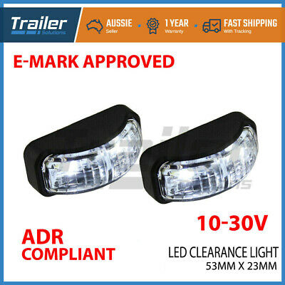 2 X Led Clearance Lights Side Marker Lamp White Trailer Truck Caravan Multi Volt