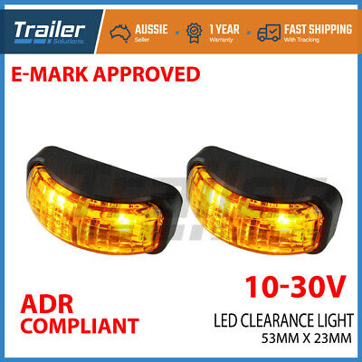 2 X Led Clearance Lights Side Marker Lamp Amber Trailer Truck Caravan Multi Volt