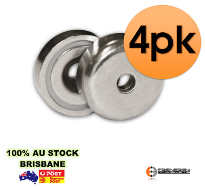 4X Strong A32mm 25kg Shallow Countersunk Ring Neo Pot Magnets | Door Latch Gate
