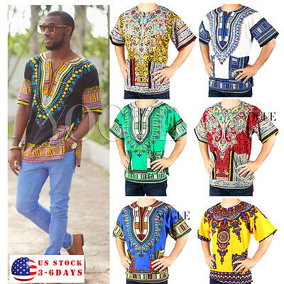 Dashiki Mens Shirt African Top Hippie Vintage Boho Tribal Womens Dress BOHO
