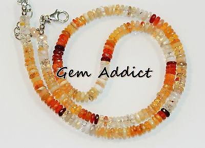 """Natural Faceted Mexican Fire Opal 5mm 17-18.5"""" Necklace/16"""" Bead Strand 67ct"""