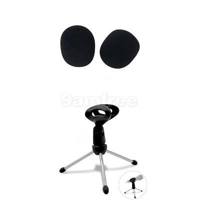 Adjustable Desktop Tripod Microphone Mic Stand Holder W Clip & Foam Shield Cover