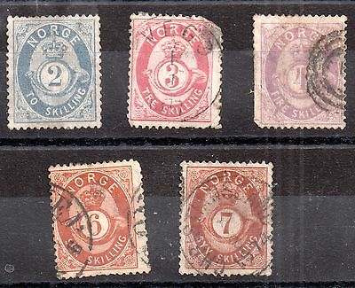 Norway 1872 2sk to 7sk used collection WS803