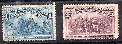 USA 1893 1c and 2c Columbian Expo mint MH WS800