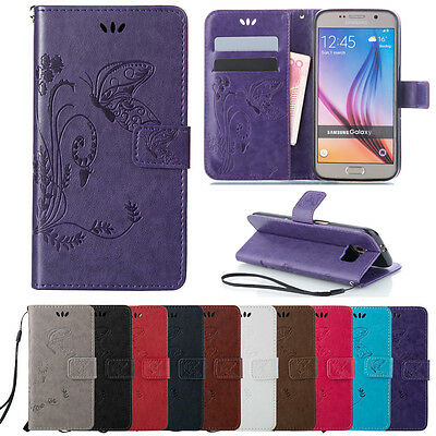 Patterned Magnetic PU Leather Wallet Case Stand Cover For Samsung Galaxy Phones