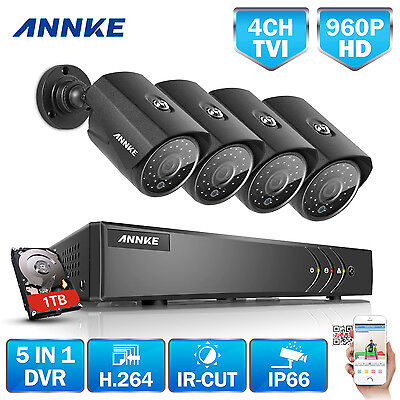 ANNKE 960P 4CH DVR 2000TVL In/Outdoor Camera Home CCTV Security System 1TB HDD