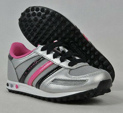 New Girls Adidas Originals L A Trainers Shoes Fashion Silver/Pink