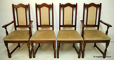4 Old Charm Oak Dining Chairs INC 2 Carvers Tudor Brown FREE Nationwide Delivery