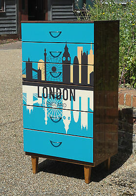 Vintage Retro Teak Shabby Chic Upcycled London Decoupage Chest Of Drawers