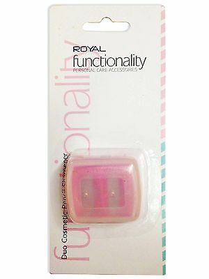 Royal Cosmetic Pencil Sharpener Cosmetic Duo With Case 2 Sizes Lip Eye Crayon