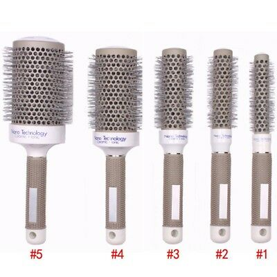 5 Sizes Hair Brush Ceramic Iron Round Comb Barber Dressing Salon