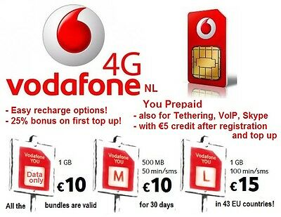 Vodafone NL YOU 4G EU prepaid SIM, Best roaming Sim for Europe! from Netherlands