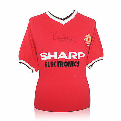 Bryan Robson Signed Manchester United Football Shirt Autographed Soccer Jersey