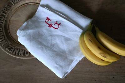 Antique French red embroidered monogrammed torchon t towel Napkin G monogram