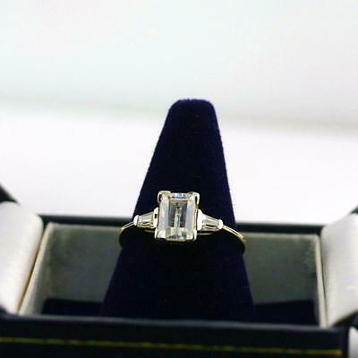 Engagement ring Solid 14K yellow gold three stone Emerald cut Cubic Zirconia