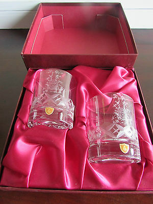 Cased Pair of Burns Cut Crystal Whisky Tumblers