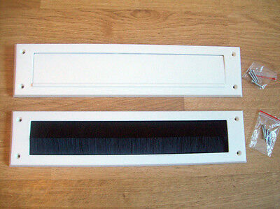 Internal Cover with flap brush Seal Draught Excluder letterbox white or brown