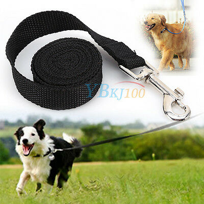 Black Durable Long Pets Dog Puppy Training Nylon Recall Lead Leash Traction Rope